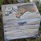 Для дома и интерьера handmade. Livemaster - original item The box is wooden decoupage Pair of horses. Handmade.