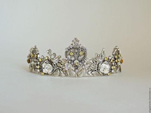 Диадемы, обручи ручной работы. Ярмарка Мастеров - ручная работа. Купить Свадебная тиара-диадема Silver Queen. Handmade. Серебряный