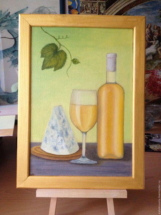 """Натюрморт ручной работы. Ярмарка Мастеров - ручная работа. Купить Картина """"Белоее вино"""". Handmade. Желтый, картина маслом, бокал"""