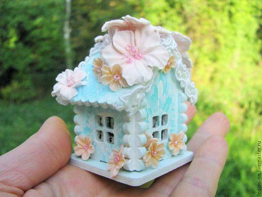 Миниатюра, кукольная миниатюра, домик Фея, с подсветкой, кукольный домик, миниатюра ночник, мини домик, подарок для девочки, миниатюра сад, мини сад, подарок девочке, миниатюра домик, мятный