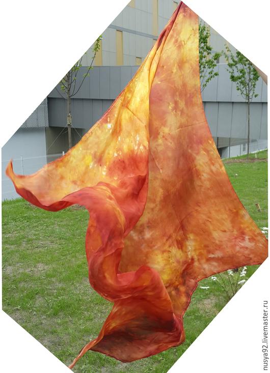 """Шали, палантины ручной работы. Ярмарка Мастеров - ручная работа. Купить Шелковый платок """"Весна 10"""". Handmade. Разноцветный"""