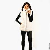 Одежда ручной работы. Ярмарка Мастеров - ручная работа В005. Жилет из искусственного меха под песца белого цвета. Handmade.