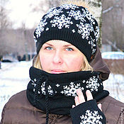 """Аксессуары ручной работы. Ярмарка Мастеров - ручная работа """"А снег падал хлопьями"""" шапка с меховым помпоном + снуд. Handmade."""