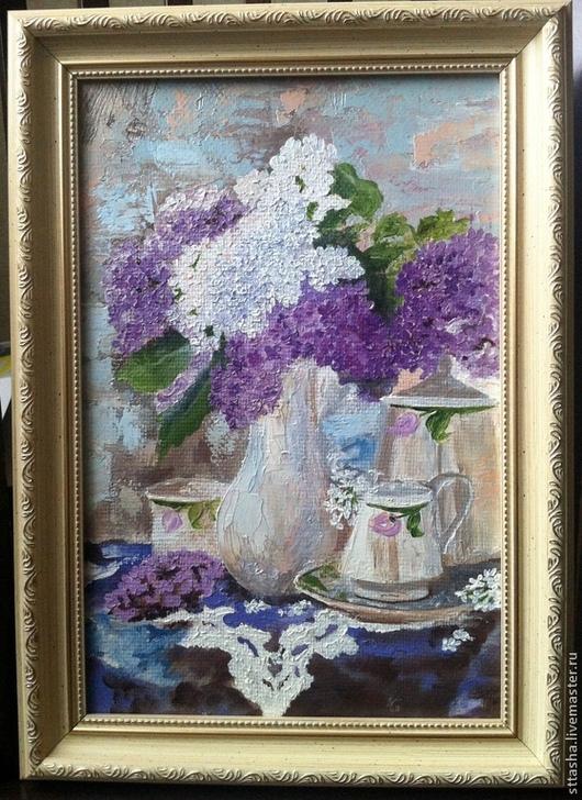 Картины цветов ручной работы. Ярмарка Мастеров - ручная работа. Купить сиреневое чаепитие. Handmade. Бледно-сиреневый, букет