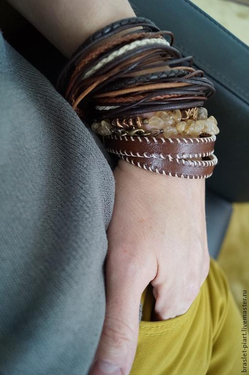 """Украшения для мужчин, ручной работы. Ярмарка Мастеров - ручная работа. Купить Комплект браслетов """"Алисия"""""""" из кожи  и цитрина.. Handmade."""