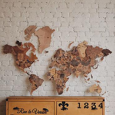 Картины и панно ручной работы. Ярмарка Мастеров - ручная работа Карта мира деревянная. Handmade.