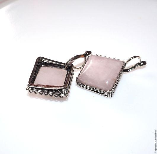 """Серьги ручной работы. Ярмарка Мастеров - ручная работа. Купить Серьги """"Селеста"""" розовый кварц, серебрение 925 пробы. Handmade."""