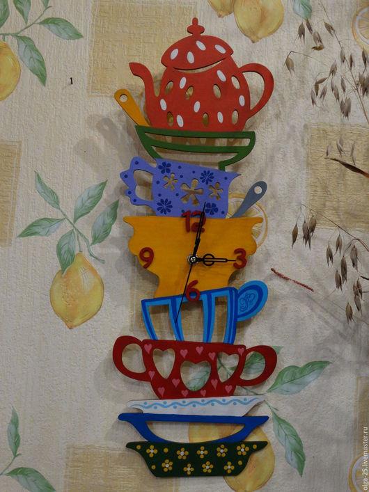 """Часы для дома ручной работы. Ярмарка Мастеров - ручная работа. Купить Часы настенные """"Посуда"""". Handmade. Комбинированный, кухня"""