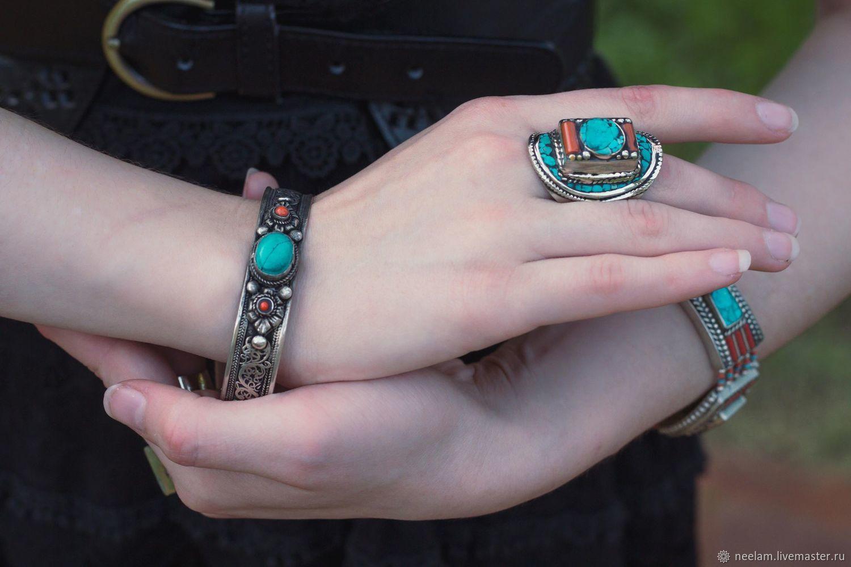 Серебряный бохо-перстень с мозаикой из бирюзы коралла, Кольца, Киев,  Фото №1