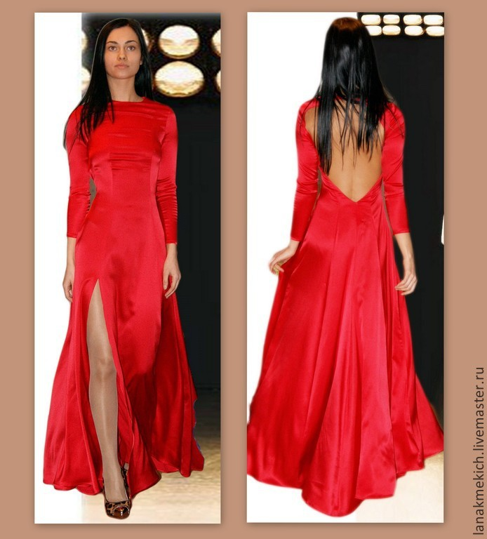 Dress red silk 'Flame dragon', Dresses, Moscow,  Фото №1