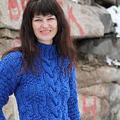 Одежда ручной работы. Ярмарка Мастеров - ручная работа Синее синего теплый свитер. Handmade.