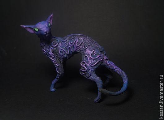 """Статуэтки ручной работы. Ярмарка Мастеров - ручная работа. Купить Статуэтка """"лиловая ориентальская кошка"""" кот ориентал. Handmade. Талисман"""