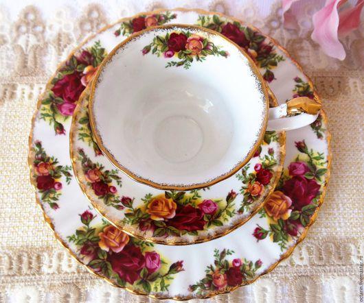"""Винтажная посуда. Ярмарка Мастеров - ручная работа. Купить Винтажное чайное трио Royal Albert """"Розы старой Англии"""". Handmade."""