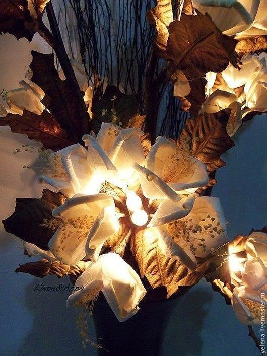 """Освещение ручной работы. Ярмарка Мастеров - ручная работа. Купить Цветы-светильник """"Полночь"""". Handmade. Белый цвет, цветы"""