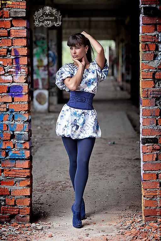 """Платья ручной работы. Ярмарка Мастеров - ручная работа. Купить Платье """"Граффити"""". Handmade. Синий, именной шелк"""