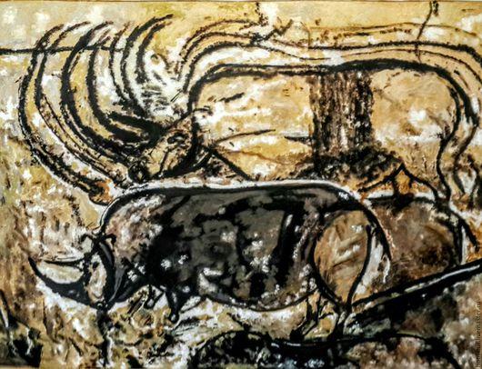 Животные ручной работы. Ярмарка Мастеров - ручная работа. Купить Охота на носорогов.Фрагмент.. Handmade. Желтый, наскальные рисунки, добыча