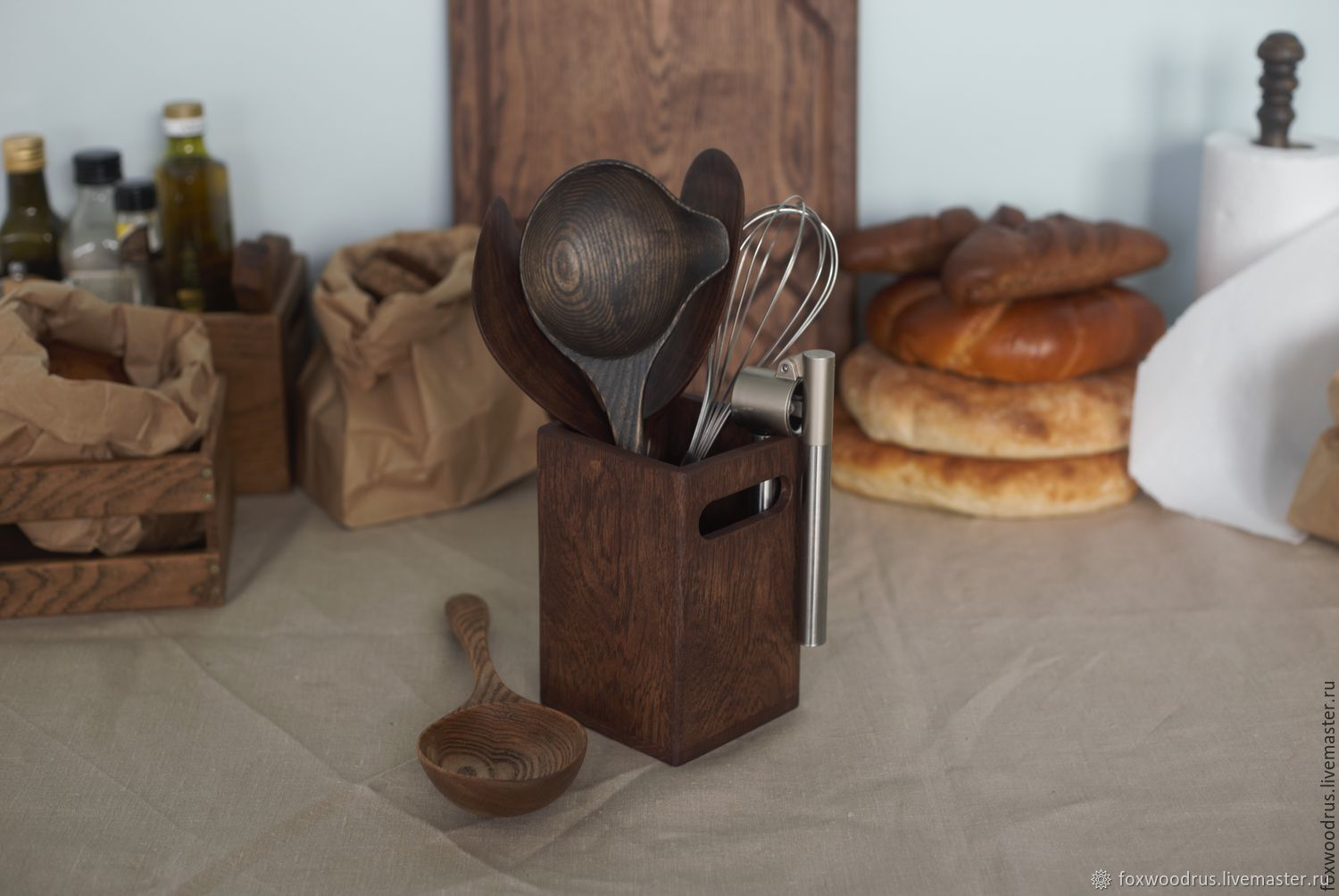 Stand made from oak for Cutlery, Utensils, Moscow,  Фото №1