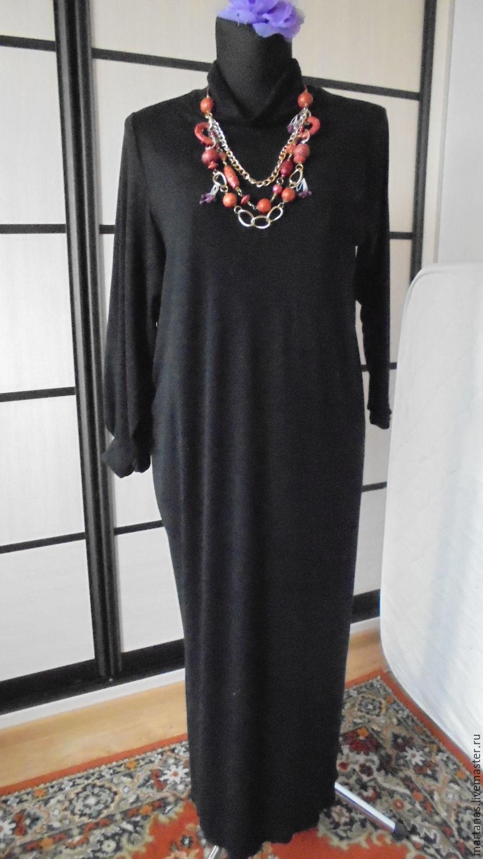 Платье длинное черное из трикотажа, , Северодвинск, Фото №1