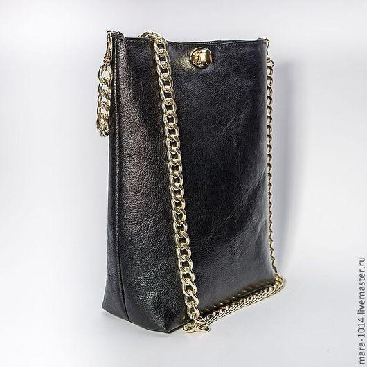 Женские сумки ручной работы. Ярмарка Мастеров - ручная работа. Купить BLACK SILK кожаная сумочка на плечо. Handmade. Черный