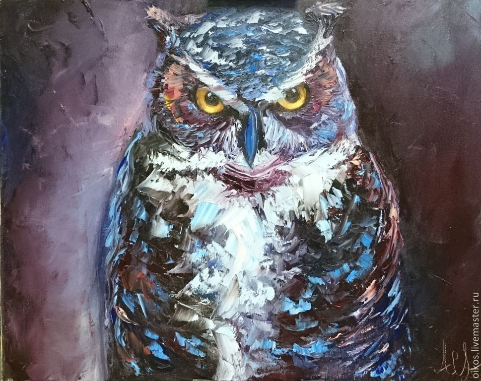 The author's oil painting of a Mystical owl, Pictures, St. Petersburg,  Фото №1