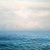 handmade. Livemaster - original item Seascape Abstract Photo painting Blue sea, White clouds. Handmade.