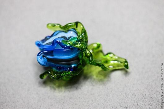 """Для украшений ручной работы. Ярмарка Мастеров - ручная работа. Купить Бусина """"Ажурный бутон"""" голубой. Handmade. Разноцветный"""