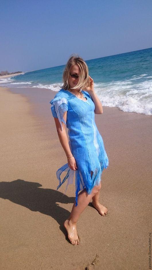 """Платья ручной работы. Ярмарка Мастеров - ручная работа. Купить Платье шелковое валяное """"Море зовет"""". Handmade. Голубой"""