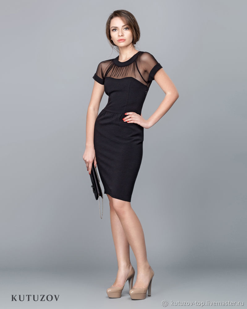 e7474b21f87 Ярмарка Мастеров - ручная работа. Купить Чёрное платье с сеткой №306 ...