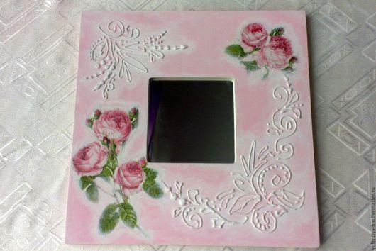Зеркала ручной работы. Ярмарка Мастеров - ручная работа. Купить Зеркало Нежные розы. Handmade. Розовый, для подруги, акриловый лак