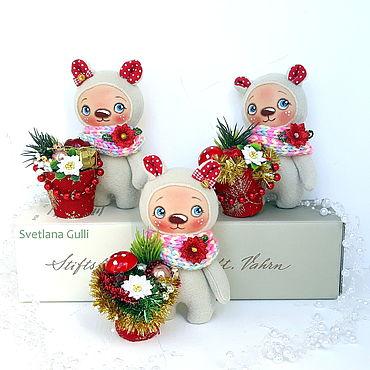 Куклы и игрушки ручной работы. Ярмарка Мастеров - ручная работа Новогодний мишка сувенир. Handmade.