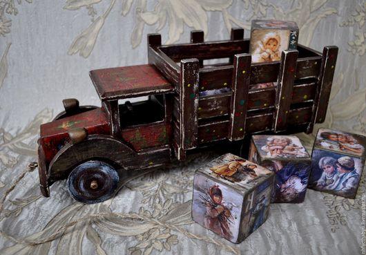 Новый год 2017 ручной работы. Ярмарка Мастеров - ручная работа. Купить Грузовик деревянный. Handmade. Деревянный грузовик, деревянная машинка