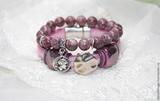 Браслеты ручной работы. Ярмарка Мастеров - ручная работа. Купить Комплект браслетов розового цвета - кожа и Турмалин. Handmade. Розовый