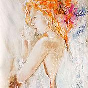 Картины и панно ручной работы. Ярмарка Мастеров - ручная работа Утренний чай для Ангела. Handmade.