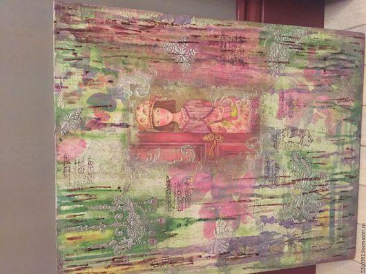 Фантазийные сюжеты ручной работы. Ярмарка Мастеров - ручная работа. Купить Помечтаем. Handmade. Цветы, девочка, мечты, бабочки