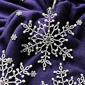 Подарки к праздникам ручной работы. Ярмарка Мастеров - ручная работа Белые снежинки из бисера (набор 3 шт). Handmade.