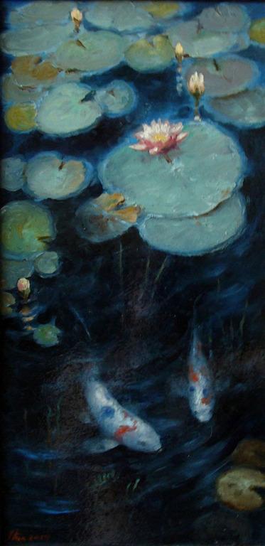 """Пейзаж ручной работы. Ярмарка Мастеров - ручная работа. Купить Картина маслом """"Рыбки в пруду с кувшинками""""(30на60см). Handmade. Интерьерная композиция"""