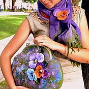Классическая сумка ручной работы. Ярмарка Мастеров - ручная работа Валяный комплект сумка и шарф Viola. Handmade.