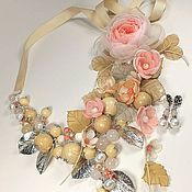 Украшения handmade. Livemaster - original item The wind from Paradise Island. Necklace, brooch flower, earrings, fabric flowers. Handmade.