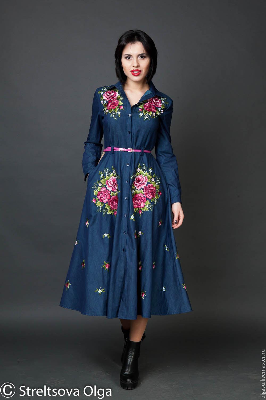 Джинсовое платье, сарафан, платье, вышивка, вышитое платье. вышитый сарафан, легкое платье, легкий сарафан, джинсовый стиль, джинс, джинсовый сарафан, синее платье, синий сарафан