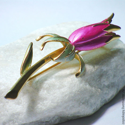 """Винтажные украшения. Ярмарка Мастеров - ручная работа. Купить Винтажная брошь""""Бутон""""-Park Lane. Handmade. Розовый, редкая брошь, цветок"""