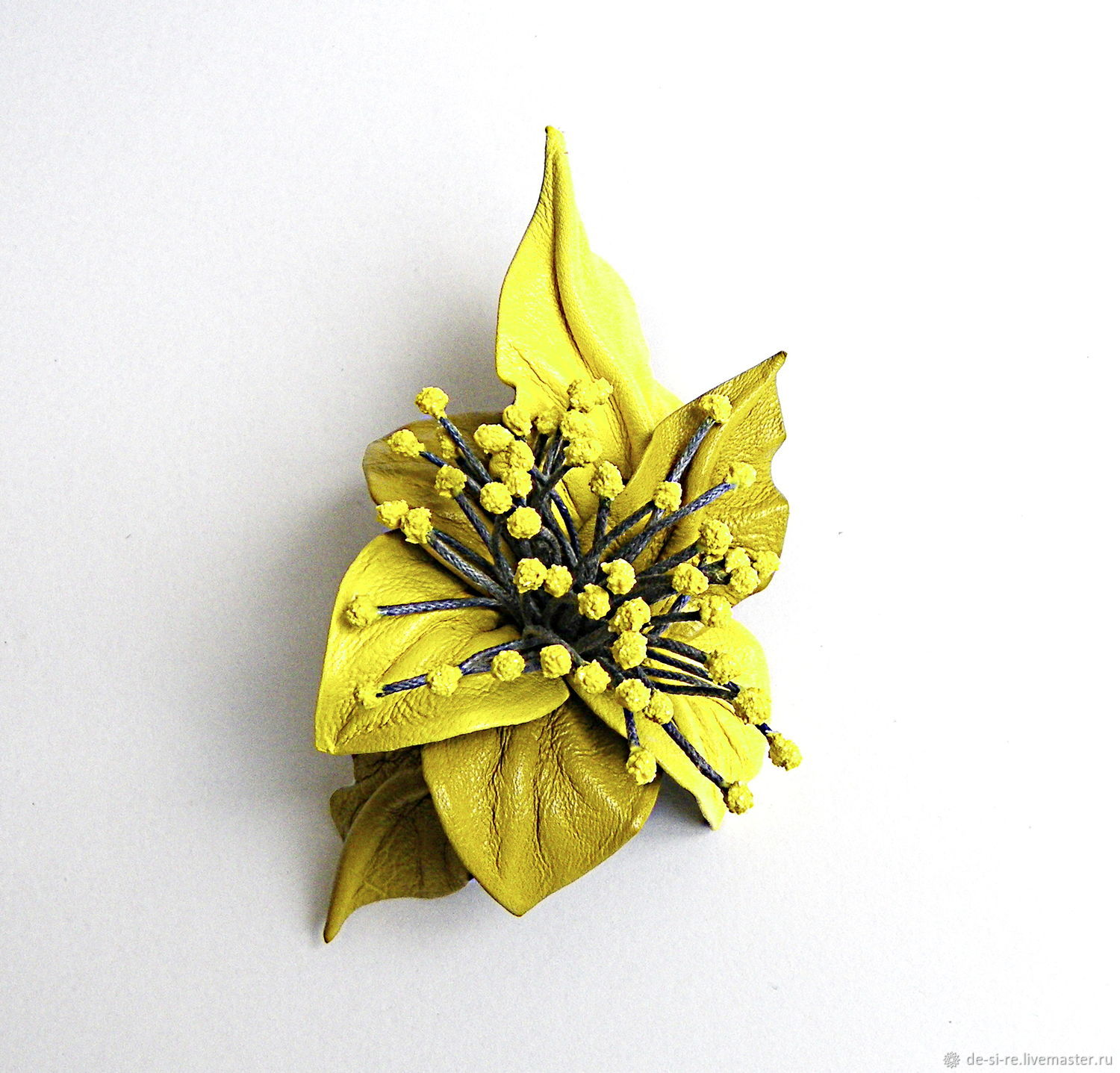 Leather brooch flower with stamens Lemon yellow lemon mustard gray, Brooches, Moscow,  Фото №1