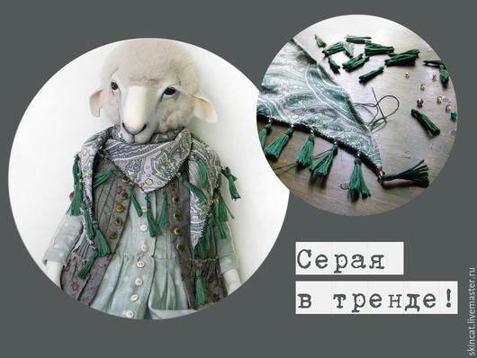 Коллекционные куклы ручной работы. Ярмарка Мастеров - ручная работа. Купить Серая. Handmade. Серый, кружево, овен, гранулят металлический