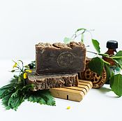 Косметика ручной работы handmade. Livemaster - original item Campaniae natural soap from scratch with tar chaga for oily hair. Handmade.