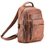 """Сумки и аксессуары handmade. Livemaster - original item Кожаный рюкзак """"Марвин"""" (рыжий крейзи). Handmade."""