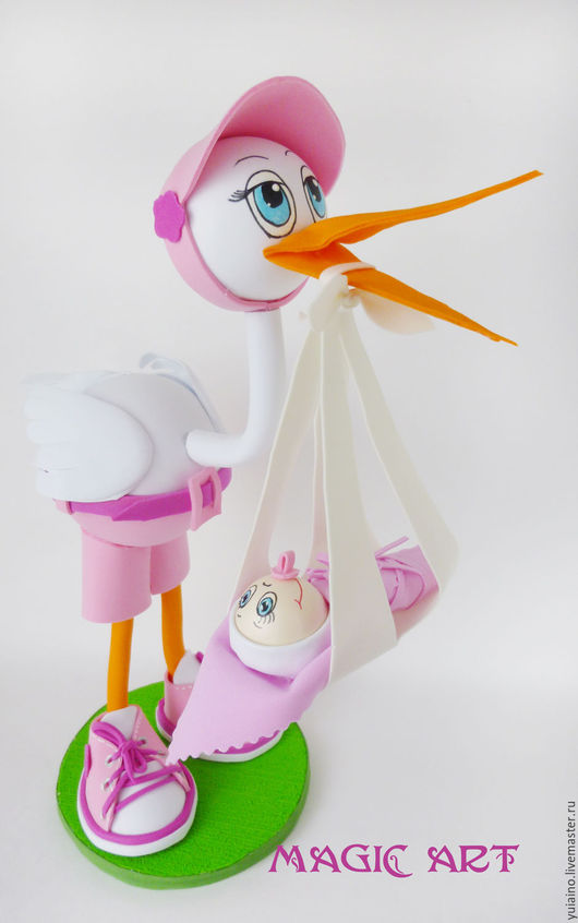 Подарки для новорожденных, ручной работы. Ярмарка Мастеров - ручная работа. Купить Аист с новорожденным. Handmade. Голубой, сувениры ручной работы