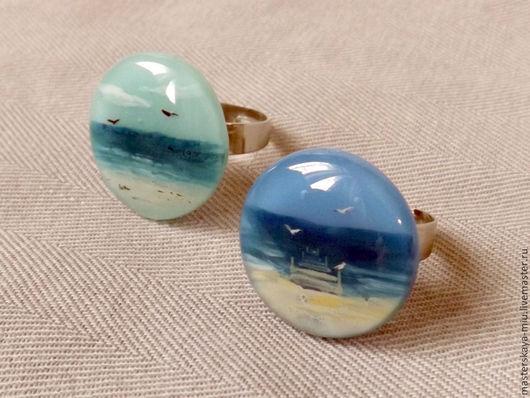 Кольца ручной работы. Ярмарка Мастеров - ручная работа. Купить кольца с морскими пейзажами. Handmade. Разноцветный, синий, ветер