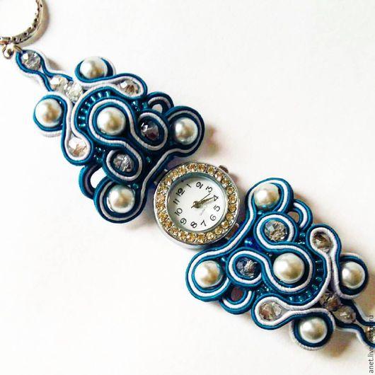 Браслеты ручной работы. Ярмарка Мастеров - ручная работа. Купить Сутажный браслет с часами. Handmade. Серый, часы, браслет сутаж