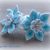 Украшения handmade. Livemaster - original item Hair bands Blue agate in the technique of kanzashi. Handmade.