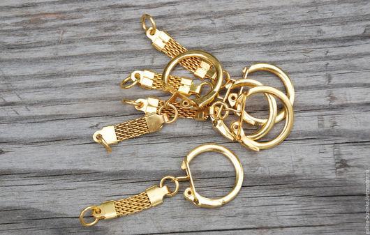 Для украшений ручной работы. Ярмарка Мастеров - ручная работа. Купить Основа с карабином , брелок ( цвет золото). Handmade.