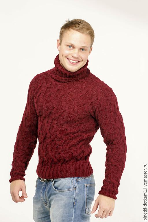 Для мужчин, ручной работы. Ярмарка Мастеров - ручная работа. Купить Мужской свитер Волна_Бордо. Подарок мужчине. Handmade. Бордовый